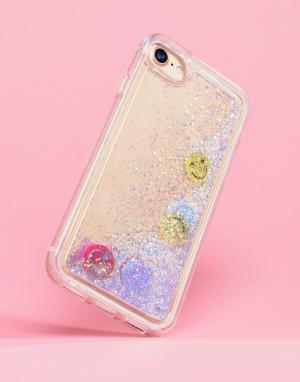 Skinnydip Чехол для iPhone 6/7/8/s с блестками и смайликом. Цвет: мульти
