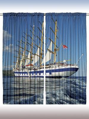 Плотные фотошторы Бело-синий фрегат, 290*265 см Magic Lady. Цвет: синий