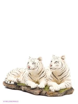 Статуэтка Белые тигры Veronese. Цвет: молочный, черный