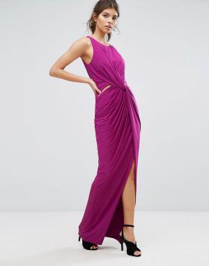 Forever Unique Платье макси с запахом и разрезом. Цвет: розовый
