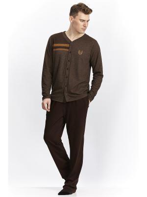 Пижама с брюками RELAX MODE. Цвет: коричневый