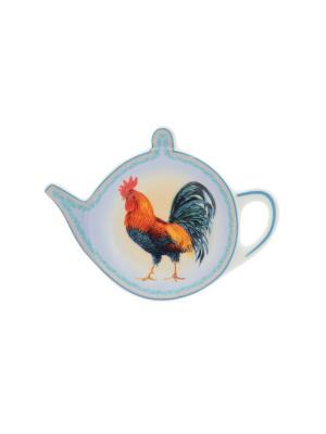 Розетка-подставка под чайный пакетик Петух с узором Elan Gallery. Цвет: красный, голубой