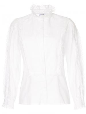 Рубашка с кружевной отделкой Vilshenko. Цвет: белый
