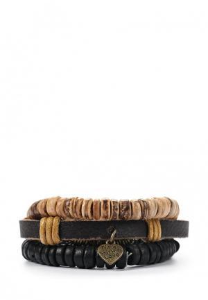 Комплект браслетов 3 шт. Joubeejou. Цвет: коричневый