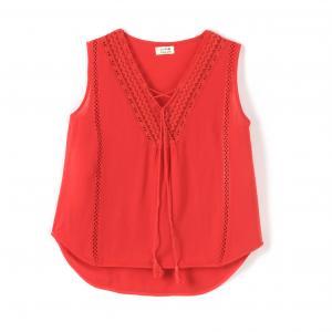 Блузка без рукавов с V-образным вырезом MOLLY BRACKEN. Цвет: красный
