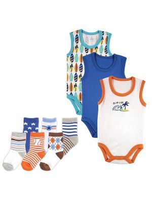 Комплект Боди-майка, 3 шт., + Носочки, 6 пар Luvable Friends. Цвет: синий, оранжевый