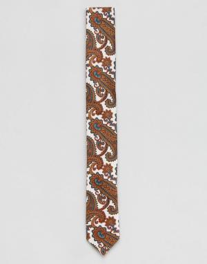 ASOS Бежевый галстук с принтом пейсли. Цвет: белый