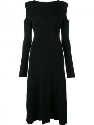 Платье  с вырезами на плечах Barbara Casasola. Цвет: чёрный