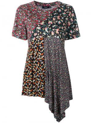 Асимметричная футболка с цветочным принтом Goen.J. Цвет: многоцветный