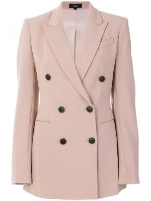 Двубортный пиджак Theory. Цвет: розовый и фиолетовый