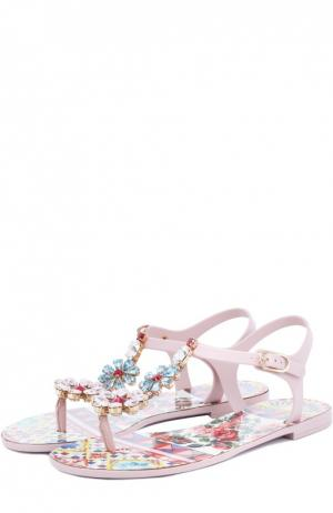 Сандалии Beachwear с кристаллами Dolce & Gabbana. Цвет: розовый