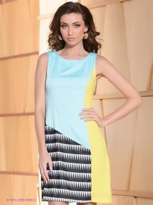 Платье Acasta. Цвет: бирюзовый, желтый, черный