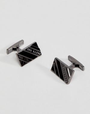 Ted Baker Серебристые запонки с полудрагоценными камнями Ceaser. Цвет: серебряный