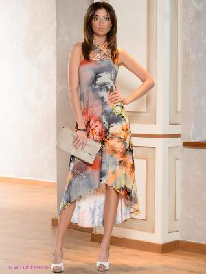 Платье МадаМ Т. Цвет: оранжевый, желтый, фиолетовый