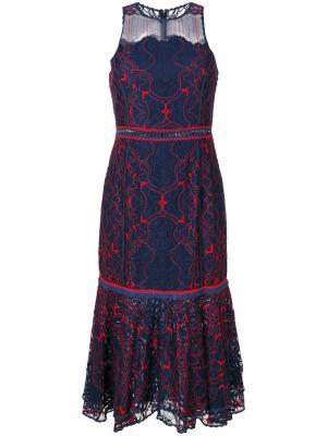 Кружевное платье без рукавов Jonathan Simkhai. Цвет: синий