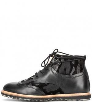 Кожаные ботинки с замшевой отделкой NOBRAND. Цвет: черный