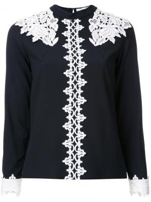 Блузка с кружевной отделкой Murral. Цвет: чёрный