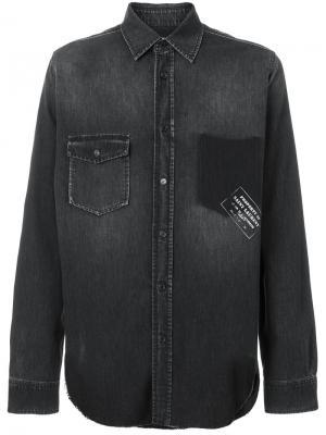 Джинсовая рубашка в стиле вестерн с надписью Saint Laurent. Цвет: чёрный