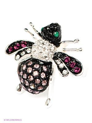 Кольцо Krikos. Цвет: серебристый, фуксия, розовый, черный, зеленый