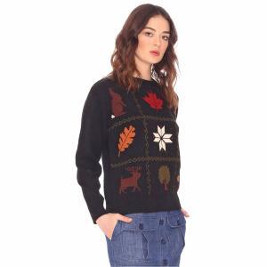 Пуловер из плотного трикотажа с круглым вырезом PEPALOVES. Цвет: черный