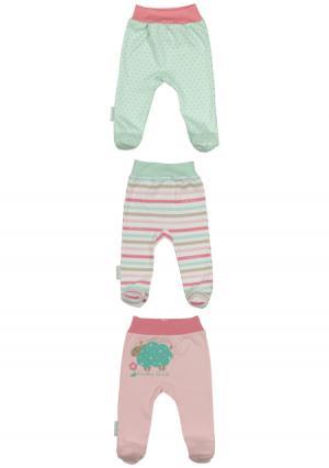 Комплект : ползунки 3 шт Lucky child. Цвет: зеленый (мятный/розовый)