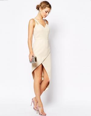 VLabel London Платье миди с запахом спереди Lyle. Цвет: кремовый