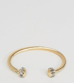 DesignB London Золотистый браслет-манжета эксклюзивно для ASOS. Цвет: золотой