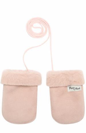 Кожаные варежки Petit Nord. Цвет: розовый