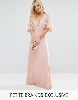 John Zack Petite Платье макси с открытой спиной и кружевными рукавами клеш Pe. Цвет: розовый