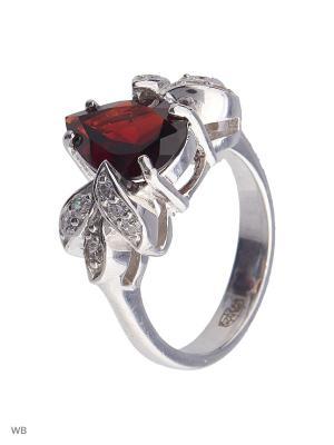 Кольцо Митра Ювелир. Цвет: бордовый, серебристый