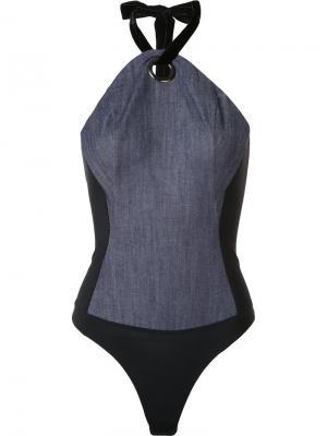 Halterneck bodysuit Alix. Цвет: синий