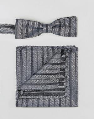Peter Werth Комплект из галстука-бабочки и платка для нагрудного кармана Wer. Цвет: серебряный