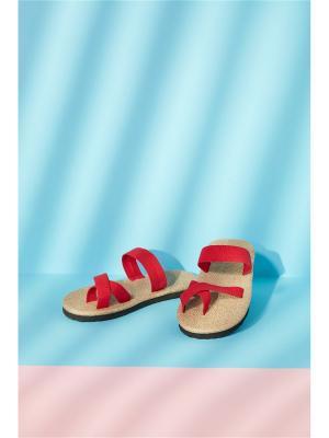 Сандалии Райские пляжи Фиджи из натуральных материалов Nothing but Love. Цвет: красный, светло-коричневый