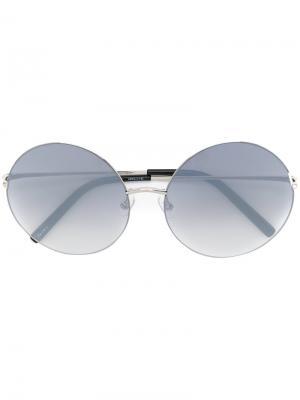 Солнцезащитные очки в круглой оправе Matthew Williamson. Цвет: металлический