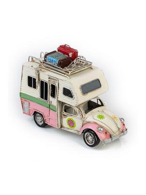 Модель Ретро Автомобиль белый с розовым фургон, фоторамкой 4х5см PLATINUM quality. Цвет: белый, розовый