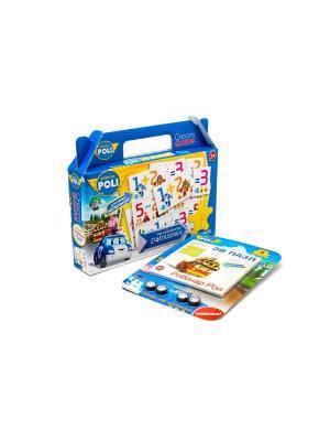 Настольная игра в чемоданчике Робокар Поли Считалочка с 3D пазлом-конструктором комплекте. Robocar Poli. Цвет: синий, зеленый, розовый