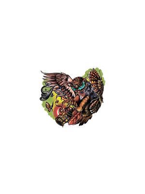 Временное тату Сова МнеТату. Цвет: желтый, красный, голубой, зеленый, морская волна, синий, сиреневый, фиолетовый, черный