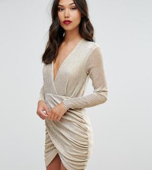 Club L Платье мини с полупрозрачным топом и асимметричной юбкой. Цвет: золотой
