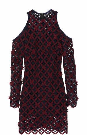 Приталенное мини-платье с кружевной отделкой self-portrait. Цвет: разноцветный