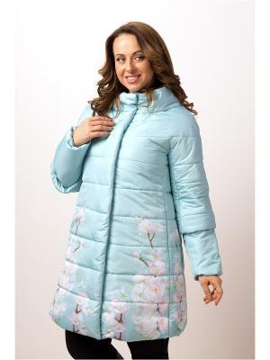 Стеганое пальто ДушеГрея. Цвет: светло-голубой
