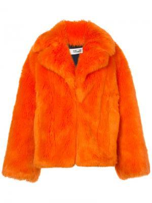 Пушистая шуба Dvf Diane Von Furstenberg. Цвет: жёлтый и оранжевый