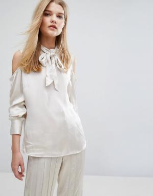 Gestuz Атласная блузка Tessa. Цвет: кремовый