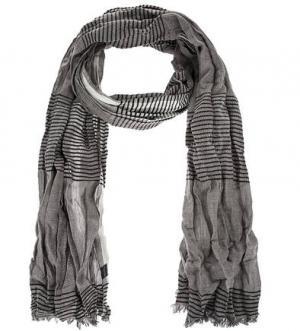 Хлопковый шарф в полоску Marc O'Polo. Цвет: серый