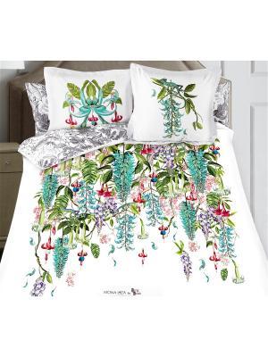 Комплект постельного белья SergLook 2х сп. Jade Mona Liza. Цвет: белый, бирюзовый, лиловый