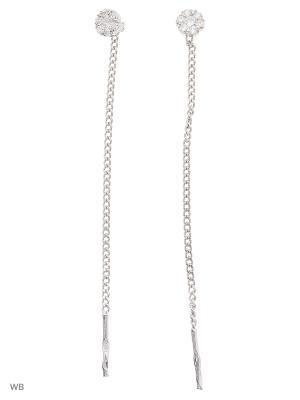 Серьги-цепочки длинные (продевки) ACCENT jewelry. Цвет: белый