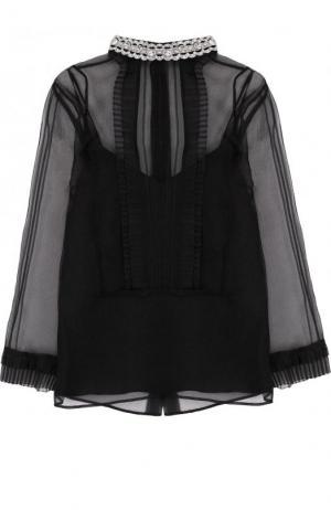 Шелковый топ с декорированным воротником-стойкой Marc Jacobs. Цвет: черный