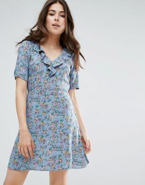 Trollied Dolly Чайное платье с цветочным принтом. Цвет: серый