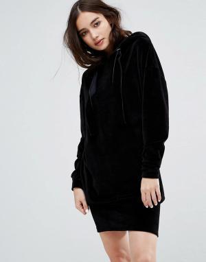 Uncivilised Велюровое оверсайз-платье. Цвет: черный