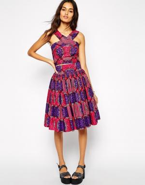 Sika Широкая юбка с плиточным принтом X ASOS. Цвет: плиточный принт