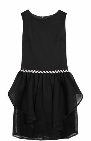 Приталенное мини-платье с декоративной отделкой и кристаллами David Charles. Цвет: черный
